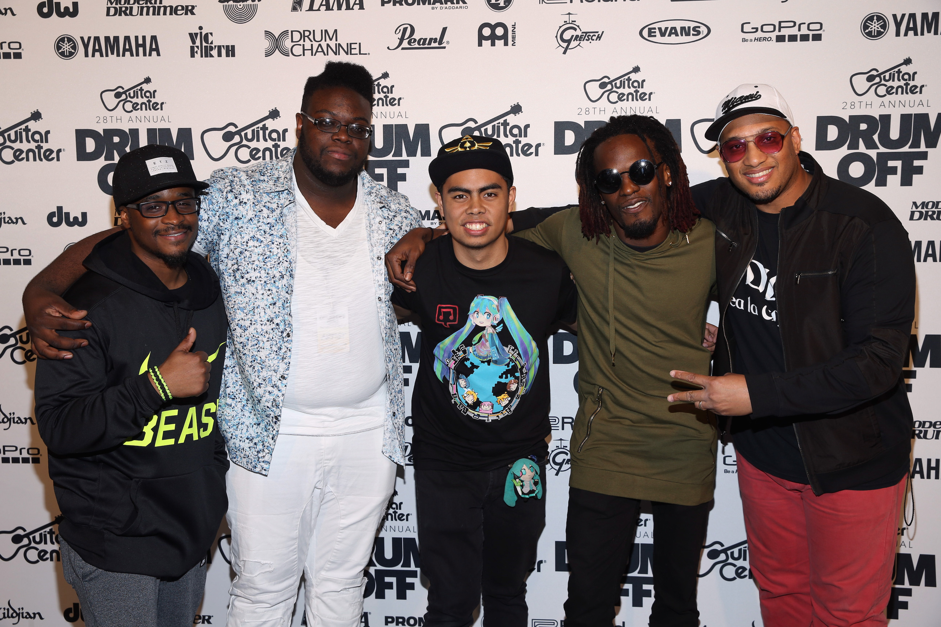 LOS ANGELES, CA - JANUARY 14:  (L-R) Finalists Anthony Burns, Kwesi Robinson, Mark Pacpaco, Fred Boswell and Hilario Bell attend Guitar Center's 28th Annual Drum-Off Finals Event at The Novo by Microsoft on January 14, 2017 in Los Angeles, California.  (Photo by Phillip Faraone/Getty Images for Guitar Center)